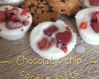 Chocolate chip cookie scented wax tart. Soy wax.