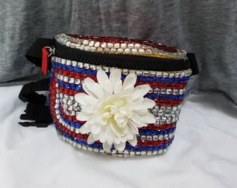 Bejewelled flower fanny pack