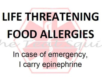 PRINTABLE Food Allergy Alert Sticker (I carry epi) -Avery 25395 pdf file only
