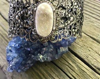 Boho Druzy Jewelry, Bohemian Jewelry for Her, Druzy Gemstone Cuff Bracelet, Druzy Boho Gift, Druzy Jewelry, Druzy Bracelet, Boho Jewelry