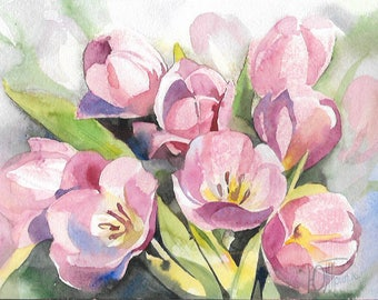 Tulips - Original Watercolor Painting 9x12 inches