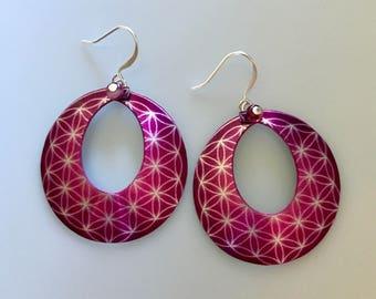 Fuchsia Flower of Life Hoop Earrings--Flower of Life Jewelry-Sacred Geometry-Yoga Jewelry-Spiritual Gifts for Her-Seed of Life Earrings