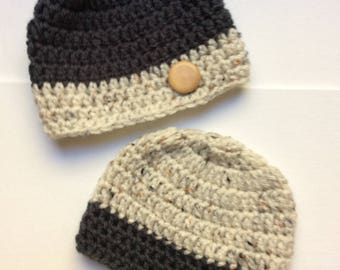 Sweet Newborn Twin Two-Tone Beanie Hats
