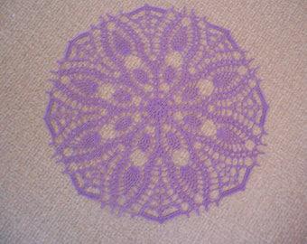 """Mauve"" round crochet doily"