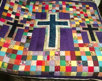 Handquilted 3 Cross Quilt