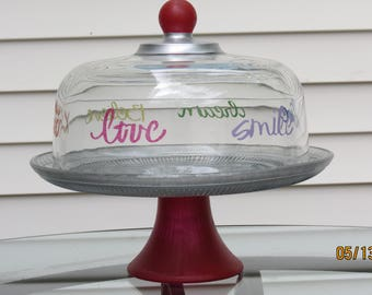 Hand painted/stenciled glass cake stand