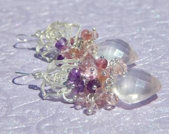 Natural Rose Quartz, pink topaz and purple amethyst gemstone cluster fiesta earrings