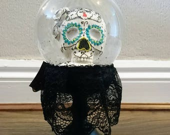 Gothic Day of the Dead Sugar Skull Snow Globe with Black Lace