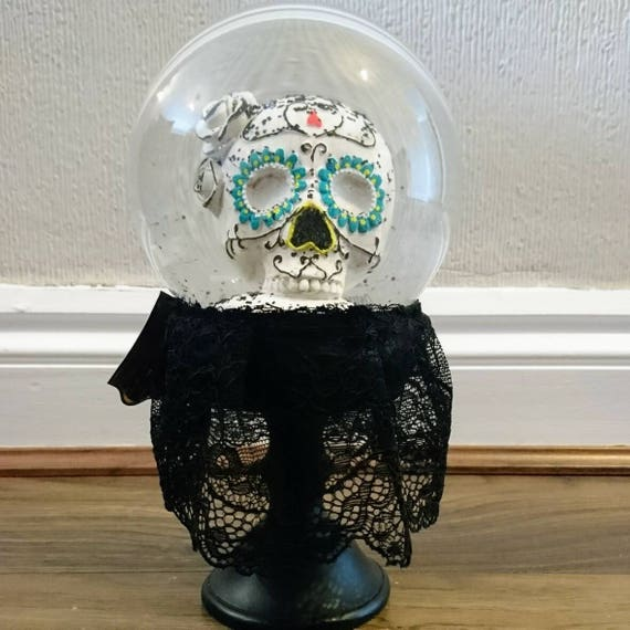 Gothic Day Of The Dead Sugar Skull Snow Globe With Black