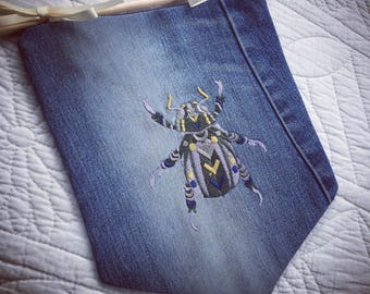 Embroidered steampunk beetle bunting banner