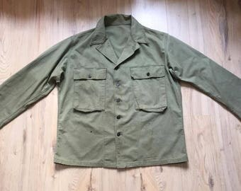 Vintage US Army P43 HBT Jacket, WW2 1940's, 13 star metal buttons