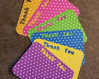 Thank you Note Cards - Set of 6 - Thank You...Fun Note Cards, Polka Dots, Cards