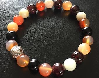 8mm natural stone bracelet - orange carnelian, garnet, amazonite, red aventurine
