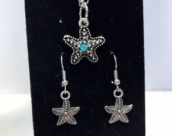 Starfish earrings and necklace set