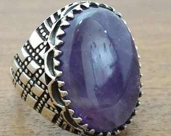 925K Sterling Silver Mens Ring With Natural Amethyst Stone