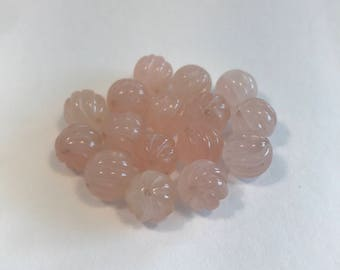 Spiral Sphere Rose Quartz Beads