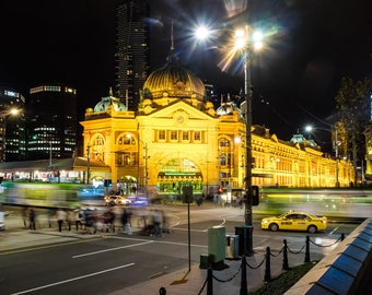 Melbourne -Flinders Street Station, Icon,City, Australia, Night Photography, Long exposure, Fine Art Photography