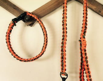 Dog paracord collar and leash set
