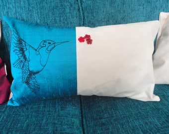 Blue Teal and Cream Hummingbird Cushion Cover made using Free-hand Machine Embroidery