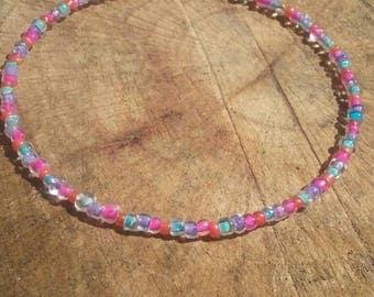Boho hippy bracelet. Glass  beads. 8 inch. Memory wire.