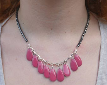 Handmade Princess necklace with enameled Briolette shaped drops