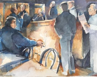 French Cafe, watercolor, south of France, Cassis painting