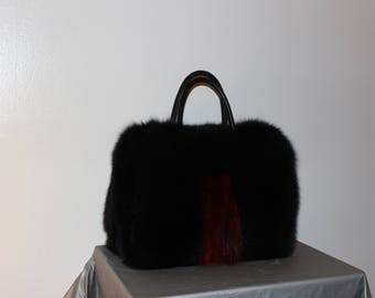 Black/Red Real Fox Purse