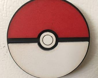 Wooden Pokeball Magnet