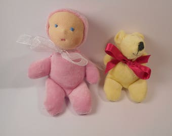 Waldorf baby small pink and her teddy