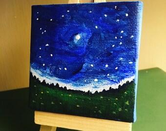 Mini Painting of a Night Sky. Original Acrylic paint on canvas