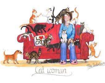 Humorous Cat Greeting Card - Catwoman