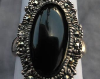 925 Sterling Silver, Onyx, Marcasite Ring