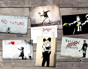 Banksy set 6 postcards | graffiti wall art poster |  street art print | balloon girl illustration | Andy Warhol  | PaperBunnyShop
