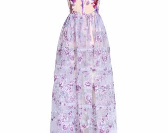 White and Lavender Floral Printed Organza Maxi Dress Style Playsuit