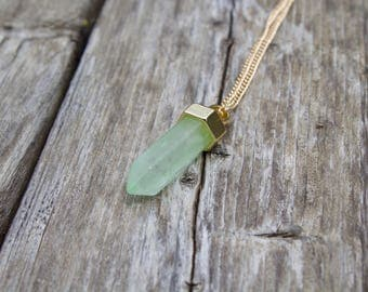 Natural Mint Green Quartz Necklace