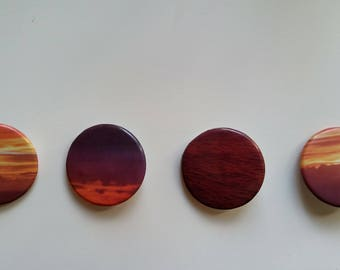Sunset 1. Hand pressed badge. Original photography.
