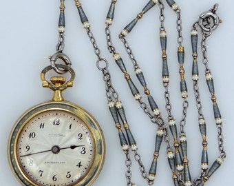 Tiffany & Co., 18k Gold and Platinum Enamel Pendant Watch and Chain