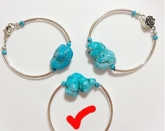 """Turquoise and Silver Curved Bar 7"""" bracelet with lobster clasp"""