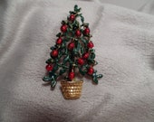 Cute Christmas Tree Pin with Dangling Ornaments