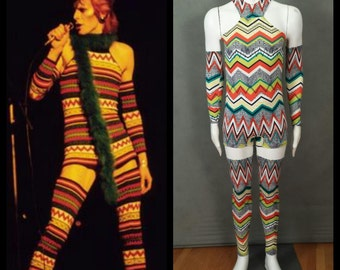 LIMITED EDITION Made to Order David Bowie Inspired Zig Zag Bodysuit with Arm and Leg Bands for Men