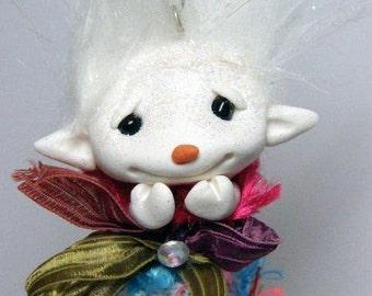 OOAK Snowgirl Snowman Troll Rainbow faerie tassel doll ornament by Amber Matthies