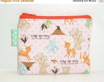 SALE SALE SALE - 20% Off Padded  Deer Pouch / Woodsy Fawn Wallet / Coin Purse / Cosmetic Bag / Card Holder / Toiletry Storage / Tiny Clutch