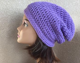 Purple Slouchy Hat, Free Shipping, Amethyst  Slouchy Beanie, Ready to Ship,  casual hat, women's slouch hat, ladies hipster hat