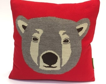 Ted the Brown Bear Pillow - Knit Cushion