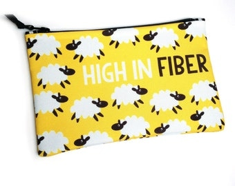 Flock of Sheep Bag, Project bag, Needle Holder, High in Fiber Yellow