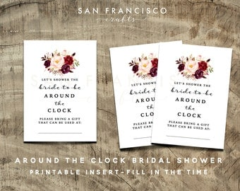 Around the Clock Insert, Printable | DIY | Holly Collection - Instant Download
