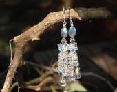 Earrings of Quartz, Labradorite, Austrian crystal, sterling/Fine Silver