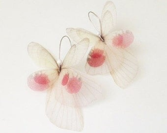 Blush Butterfly Organza Earrings Pair