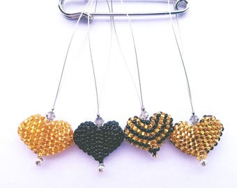 Snag Free Beaded Knit Stitch Markers with Swarovski Crystal Accent Set Of 4- Black and Gold