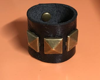 Black Leather Band with Antique Brass Pyramid Studs Ring Size 8 3/4 - ALL PROFITS donated to the ACLU
